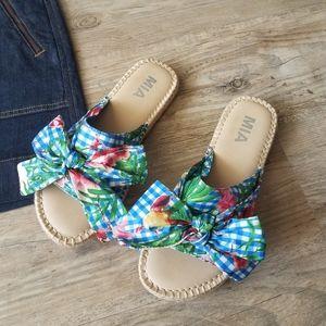 MIA Brenda Slip on Slides Platform Flats Sandals
